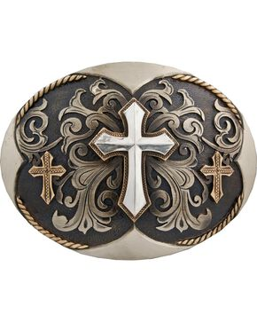 Stetson Hand-Engraved Three Cross Buckle, Silver, hi-res