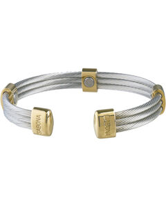 Sabona Men's Trio Cable Stainless Steel & Gold Magnetic Wristband, , hi-res