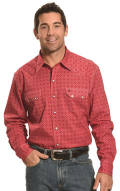Garth Brooks Sevens by Cinch Red Print Western Snap Shirt , Red, hi-res
