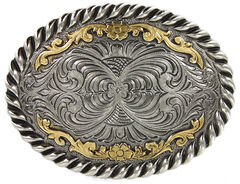 Cody James Men's Oval Dual-Tone Filigree Belt Buckle, , hi-res