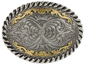 Cody James Men's Oval Dual-Tone Filigree Belt Buckle, Brown, hi-res