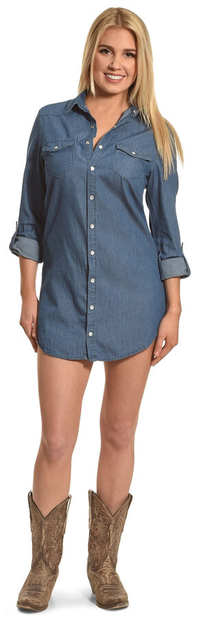 Angel Ranch Women's Indigo Chambray Tunic, Indigo, hi-res