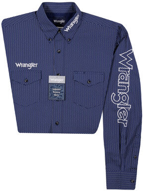 Wrangler Men's Long Sleeve Wrangler Logo Shirt - Big and Tall, Blue, hi-res