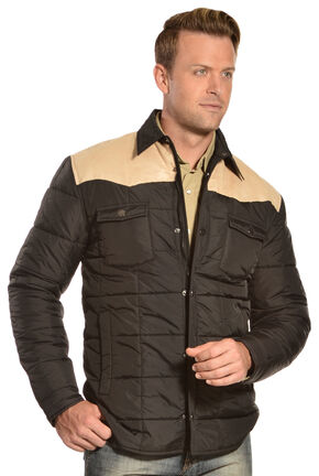 Red Ranch Men's Contrast Quilted Jacket, Black, hi-res