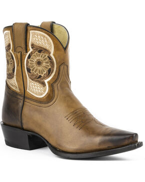 Stetson Rose Short Cowgirl Boots - Snip Toe, Brown, hi-res