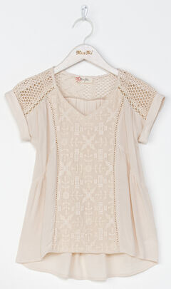 Miss Me Girl's Taupe Be My Babydoll Top , , hi-res