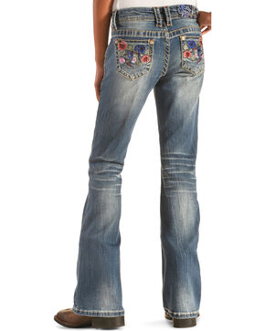 Grace in LA Girls' Floral Embroidery Pocket Jeans - Bootcut , Denim, hi-res