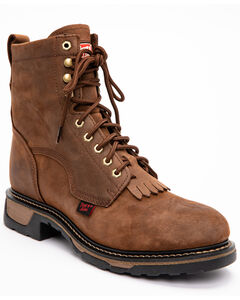 "Tony Lama 8"" Lace-Up Work Boots - Steel Toe, Tan, hi-res"