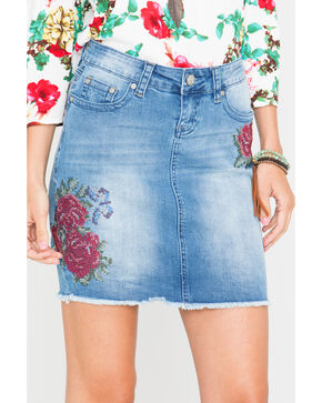 Grace in LA Women's Floral Patch Skirt , Light/pastel Blue, hi-res