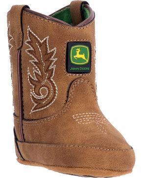 "John Deere Infant Boys' 3"" Pull On Boots - Round Toe , Tan, hi-res"