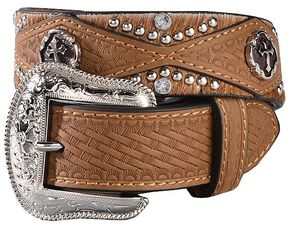 Nocona Boys' Basketweave Hair-On-Hide Cross Concho Belt - 18-28, Brown, hi-res