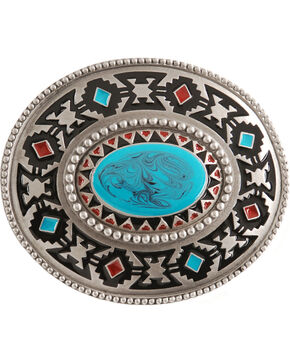 Aztec Belt Buckle, Silver, hi-res