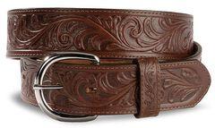 Justin Men's Dark Brown Tooled Leather Belt, , hi-res