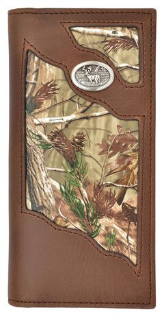3D Badger Brown Leather Camo Inlay Buck Concho Outdoor Rodeo Wallet, , hi-res
