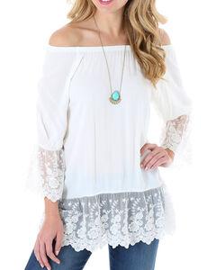 Wrangler Women's Lace Trim Long Sleeve Top, Cream, hi-res