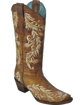 Corral Women's Side Embroidery Boots - Snip Toe, Tan, hi-res