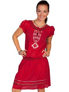 Scully Southwest Embroidered Red Dress, , hi-res