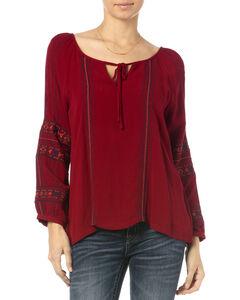 Miss Me Burgundy Embroidered Long Sleeve Peasant Top, , hi-res