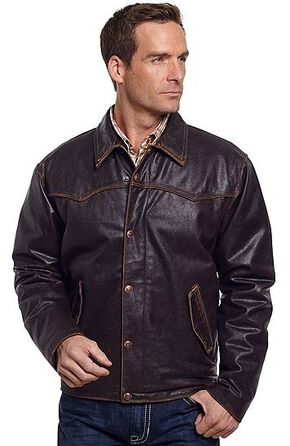 Cripple Creek Vintage Western Leather Jacket, Brown, hi-res