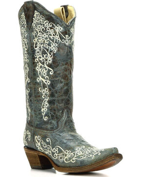 Corral Women's Turquoise Embroidered Boots - Snip Toe , Turquoise, hi-res