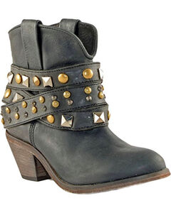 Corral Women's Black Studded Strap Short Boots - Round Toe , , hi-res