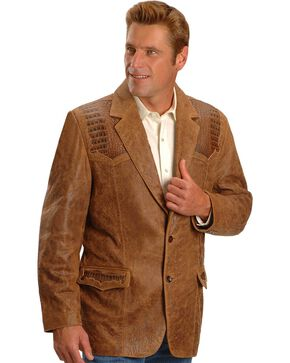 Scully Caiman Inlay Lamb Blazer - Reg, Big, Brown, hi-res