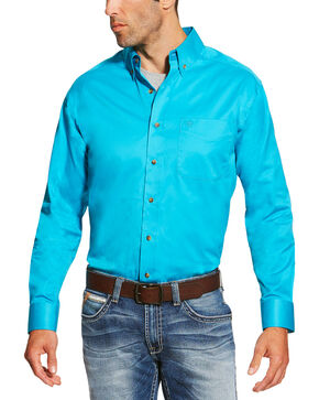 Ariat Men's Turquoise Solid Twill Shirt , Turquoise, hi-res