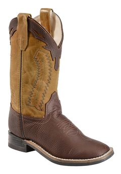 Old West Youth Boys' Thunder Olive Cowboy Boots - Square Toe, , hi-res