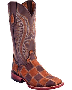 Ferrini Women's Maverick Patch Western Boots - Square Toe, Chocolate, hi-res
