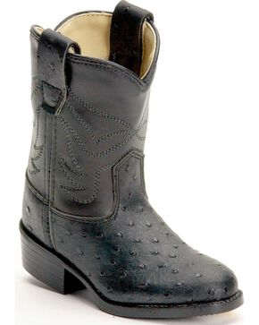 Old West Toddlers' Ostrich Print Cowboy Boots, Black, hi-res