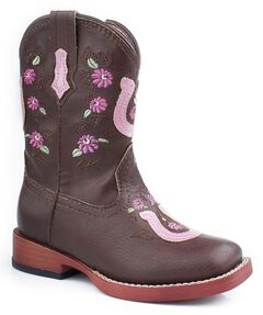 Roper Toddler Girls' Horseshoe Flower Embroidered Cowgirl Boots, , hi-res