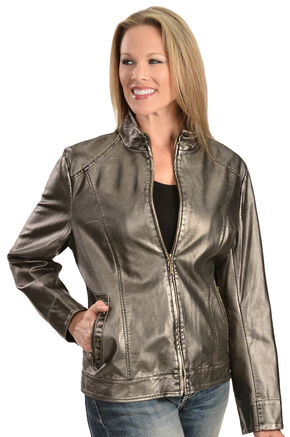 Erin London Women's Platinum Faux Leather Jacket, Grey, hi-res