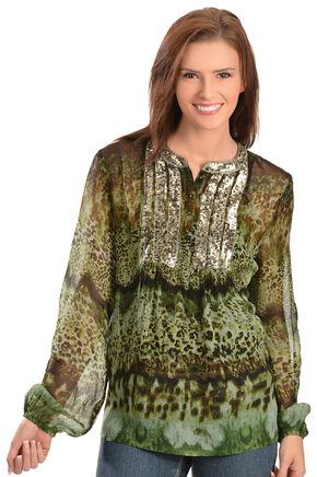 Bila Shimmering Leopard Print Chiffon Top, Green, hi-res