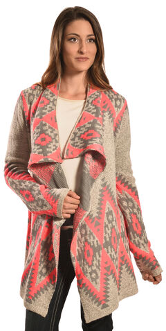 Petrol Women's Pink and Grey Aztec Wrap , Pink, hi-res