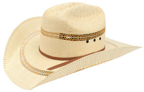 Ariat Double S Eyelet Bangora Straw Cowboy Hat , Tan, hi-res