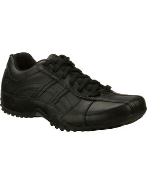 Skechers Men's Black Rockland Systemic Slip Resistant Work Shoes, Black, hi-res