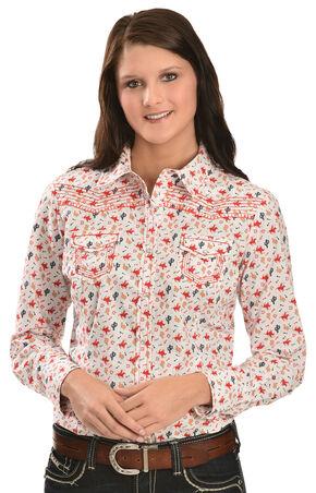 Ariat Women's Cactus Print Long Sleeve Western Shirt, Multi, hi-res