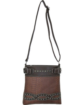 Savana Brown Snake Skin Crossbody Messenger Bag, Brown, hi-res