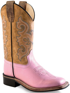 Old West Girls' Pink and Brown Leather Boots - Square Toe , , hi-res