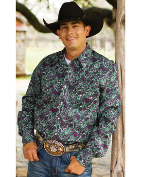 Cinch Men's Green Paisley Pring Long Sleeve Shirt, Green, hi-res