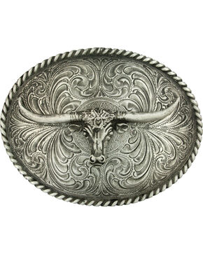 Montana Silversmiths Steerhead Belt Buckle, Silver, hi-res