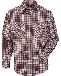 Bulwark Men's Burgundy Plaid Flame Resistant Uniform Shirt , , hi-res