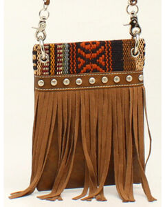 Blazin Roxx Women's Multi Fabric Fringe Messenger Bag, , hi-res