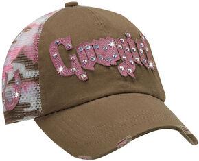 Blazin Roxx Cowgirl Camo Print Mesh Back Cap, Brown, hi-res