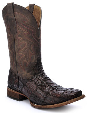 Circle G Caiman Patchwork Cowboy Boots - Square Toe  , Chocolate, hi-res