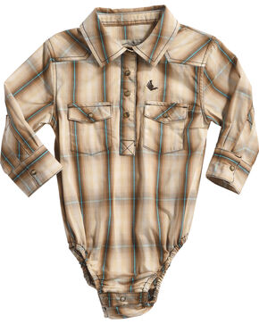 Cody James Infant Boys' Trooper Plaid Woven Onesie, Brown, hi-res