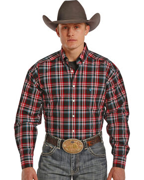 Tuf Cooper Performance Red, Teal and Grey Plaid Western Shirt , Plaid, hi-res