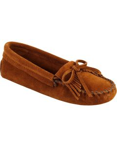 Women's Minnetonka Kilty Suede Softsole Moccasins, Brown, hi-res