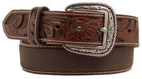 Ariat Tooled Billet Leather Belt, Tan, hi-res