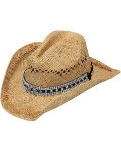Blazin Roxx Double Pistol Concho Tan Raffia Straw Cowgirl Hat, , hi-res